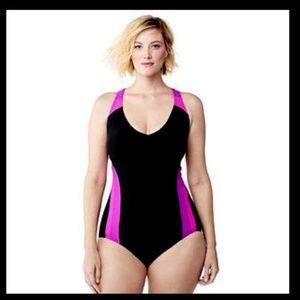 Lands end Plus 18w 1pc Swim Suit Black Hot Pink